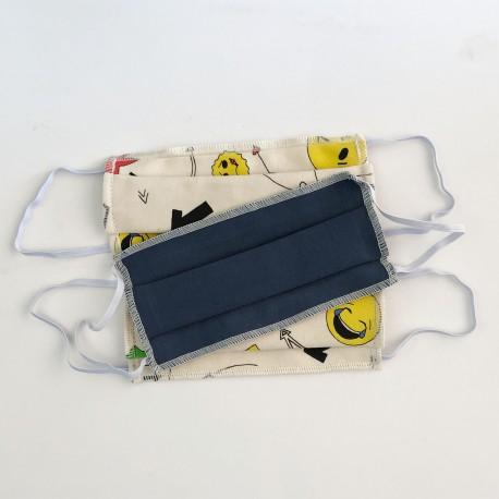 Lot de 3 masques Ado/Enfant - Coton BIO Smiley